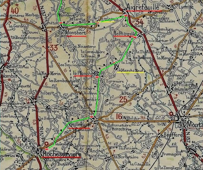 Ligne Les Sorinières (44) à Rocheservière (85) de gare en gare (1903-1938) MontbertRocheservire