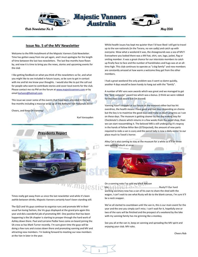 Majestic Vanners Newsletter Issue No.5 May 2015 01_zpsazmfbqgi