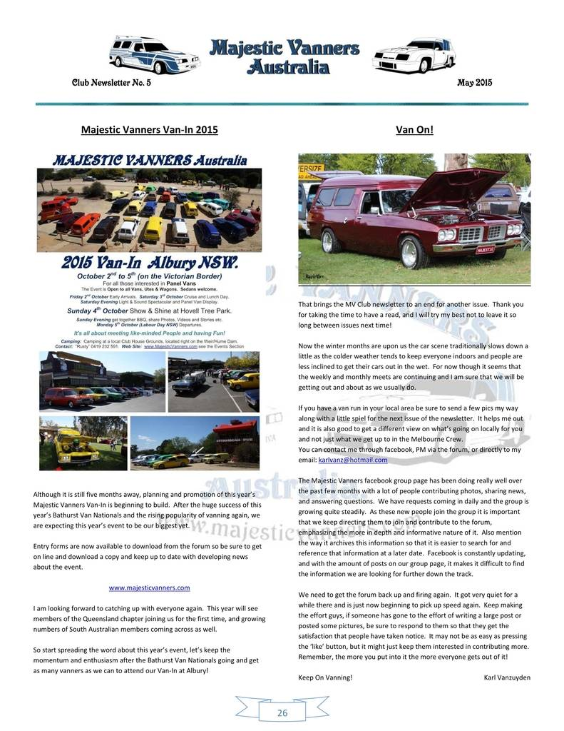Majestic Vanners Newsletter Issue No.5 May 2015 26_zpszxp4b39u