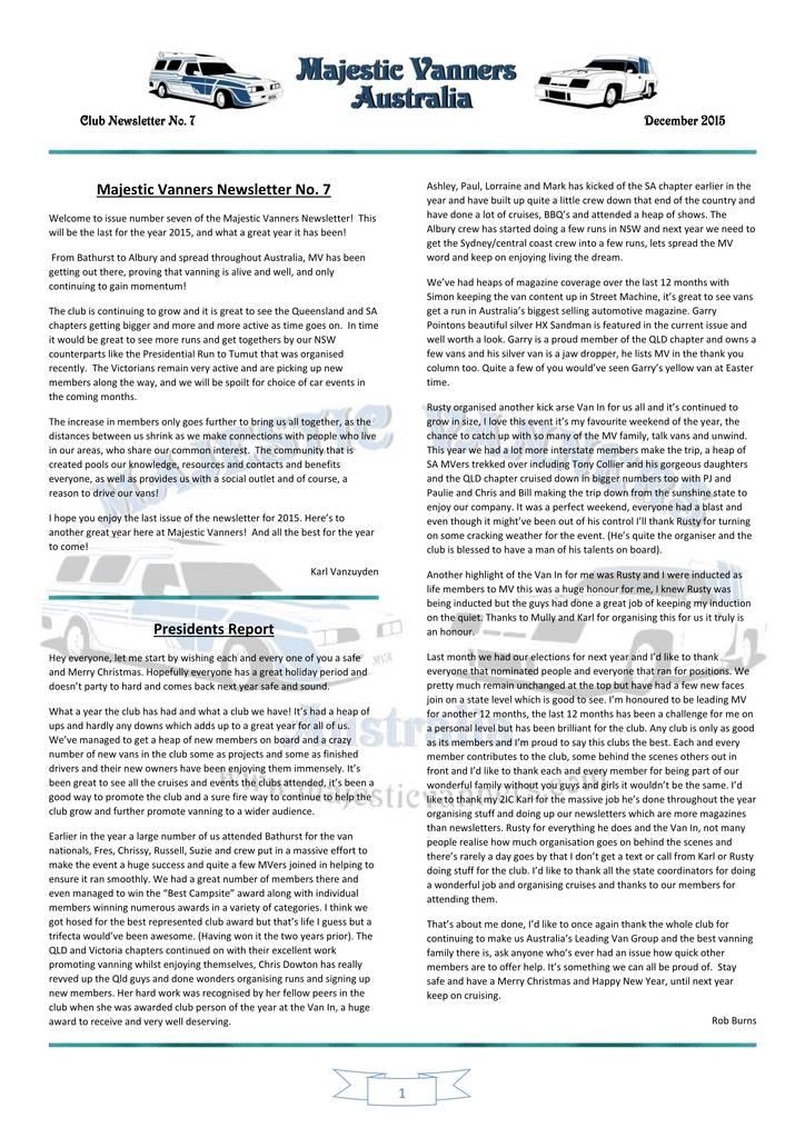 Majestic Vanners Newsletter Issue No.7 December 2015 01_zpszcqruzf1