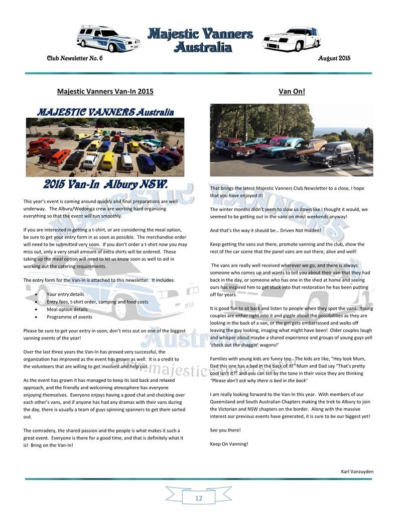 Majestic Vanners Newsletter Issue No.6 August 2015 12_zps90ptgbvs