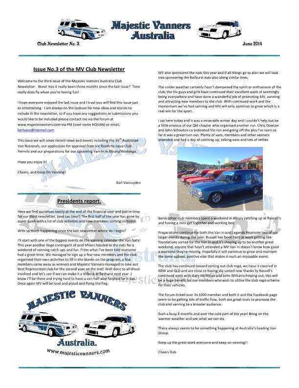 Majestic Vanners Newsletter No.3 June 2014 MVNewsletterNo3-p01_zps68d5f947