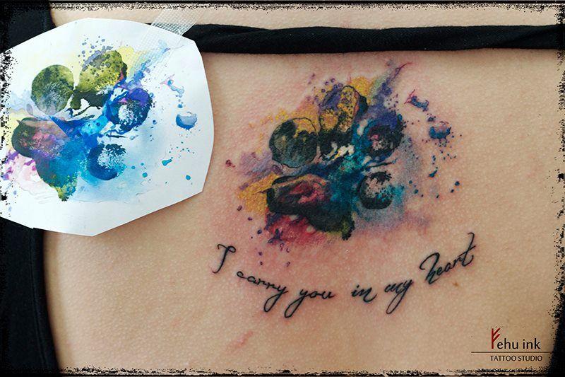 Getting a tattoo PawDogWatercolor