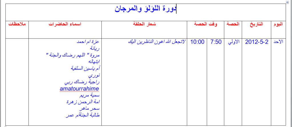 صفحه  خاصه بدورة اللؤلؤ والمرجان لحفظ القرآن عن طريق التلقين للمعلمه حياتي مع القرآن أجمل 2-5-201210-52-15PM