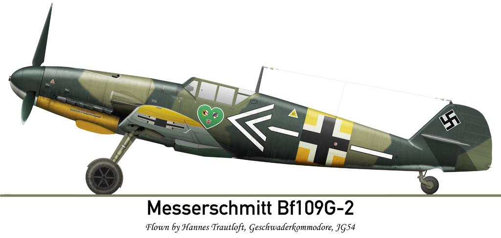 Pintura do ME-109 G2 do Kommodore Hannes Trautloft, JG54. HannesTrautloftMajBf109G-2194204