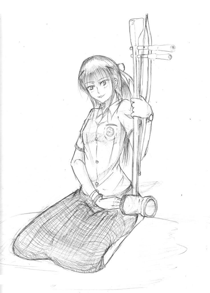 คลังอันแสงอันแสนเวิ้งว้าง...!! - Page 13 Rough_Sketch_GirlWithThaiInstrusment