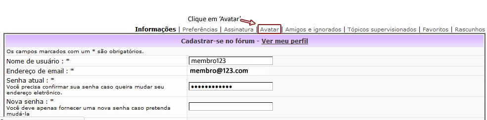 Colocando Avatar e Assinatura TutorialAvatar3