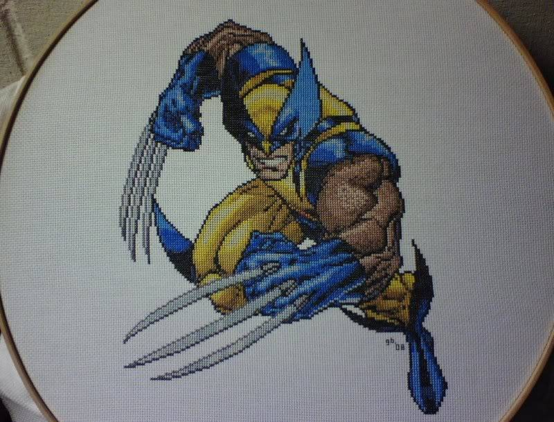 Greg's Completed Cross-Stitch Wolverine1Picture1