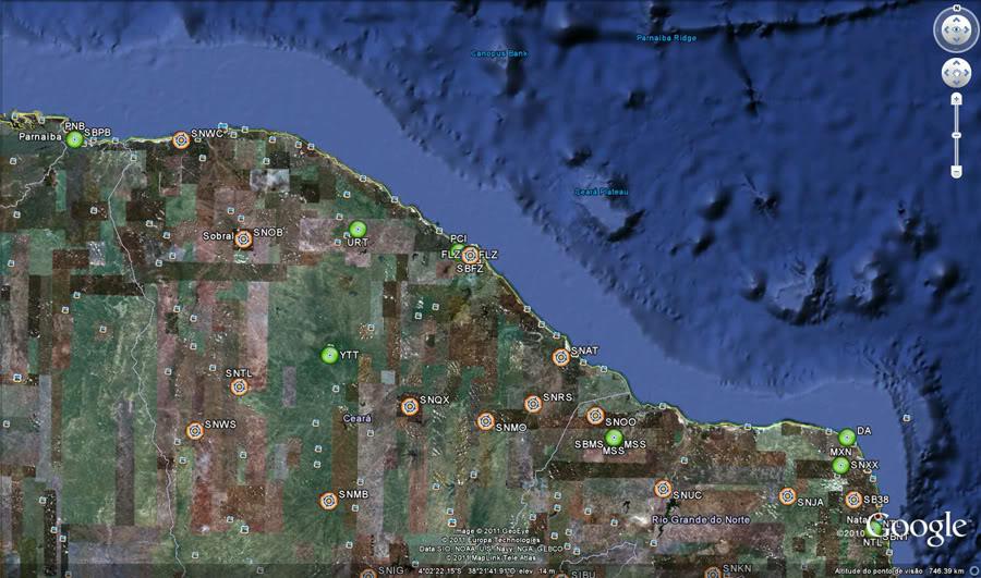Aeroportos e Navaids no Google Earth Ge