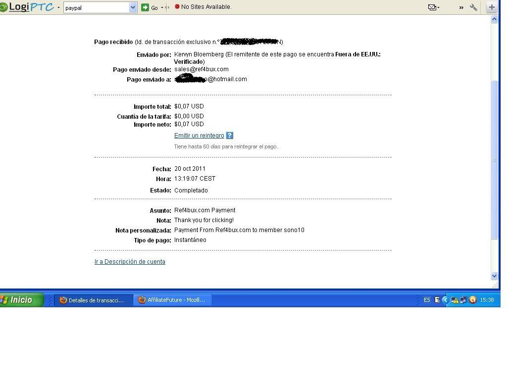 2º pago ref4bux-0.07$ en pocas horas. 2pagoref4bux