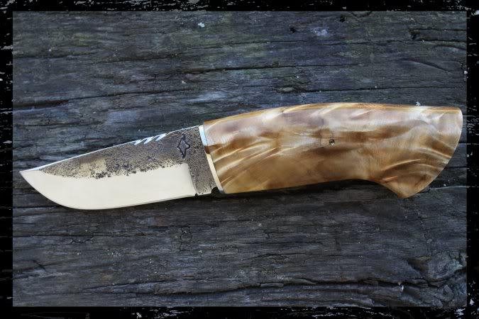 Couteaux Droits Damas : Pukko, et autres.... Puukko-brut-de-forge-peuplier