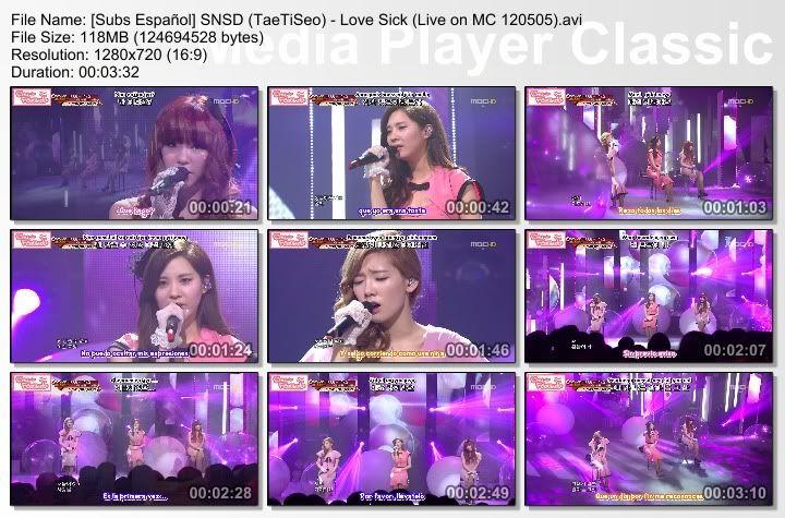 [Subs Español] SNSD (TaeTiSeo) - Love Sick  SubsEspaolSNSDTaeTiSeo-LoveSickLiveonMC120505
