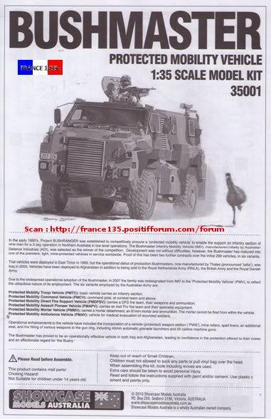 """""""Bushmaster"""". Showcase Models Australia, 1/35, ref 35001. Plastique injecté et photodécoupe. BUSHMASTER_1-35_SHOWCASE014"""