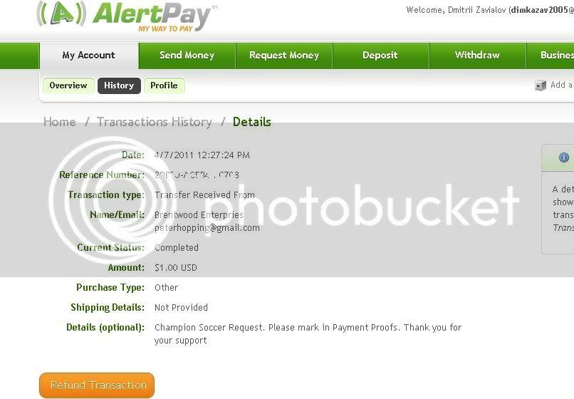 My 1st payment ChampionSoccerPTC!!! ChampionSoccer-1-1-070411