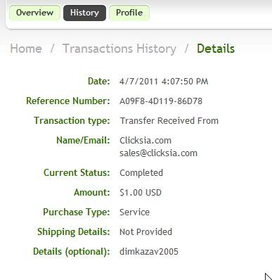 My 3st payment Clicksia!!! Clicksia-3-100-070410