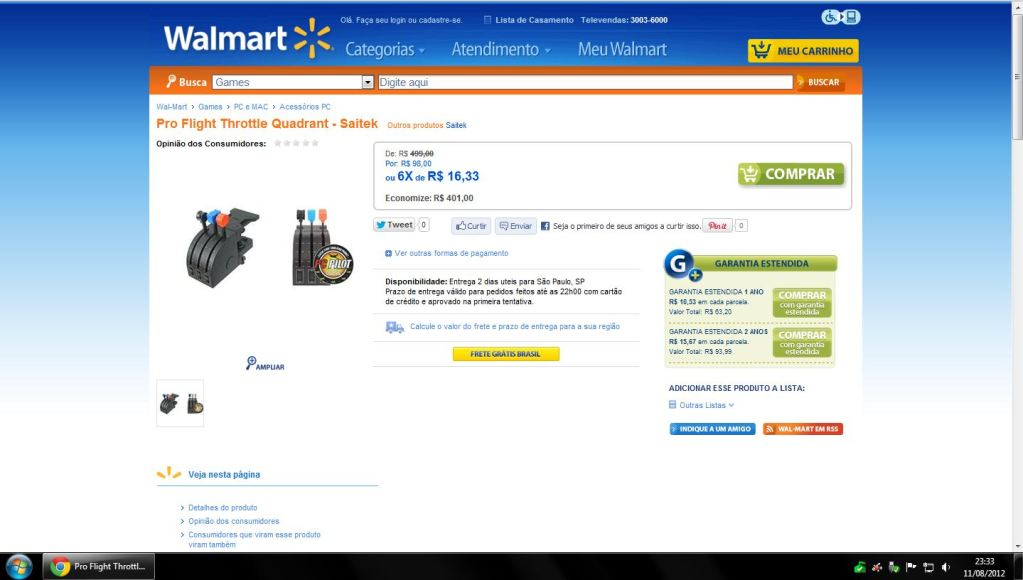 [Promoção] Pro Flight Throttle Quadrant e Pro Flight Rudder Pedals Walmart