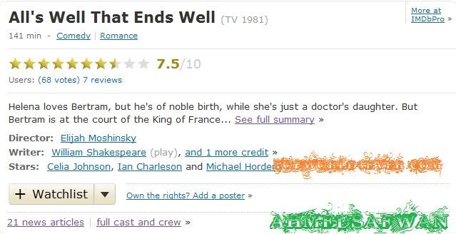 ALL'S WELL THAT ENDS WELL 1981- Shakespeare movie {exclusive Imdp