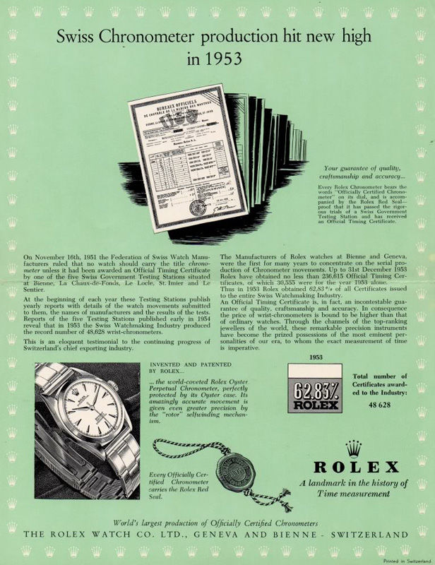 1951, chronomètre & chronomètre ChronometreRolex53