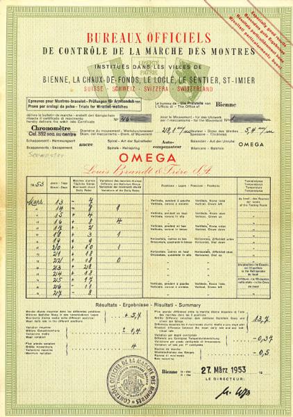 1951, chronomètre & chronomètre OmegaChronometrieCertificate1953