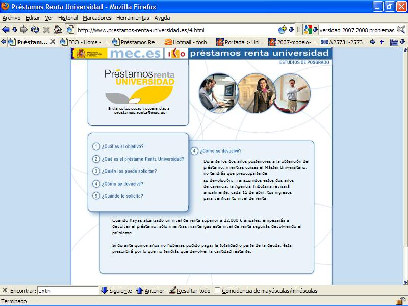 Extranet: capturas de patalla Webprestam4