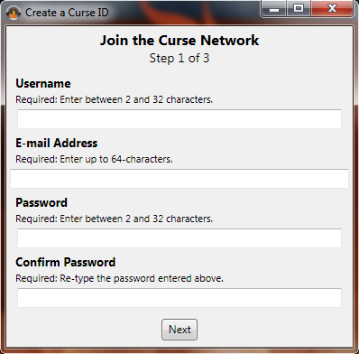 Curse Client for Dummies Signupprompt