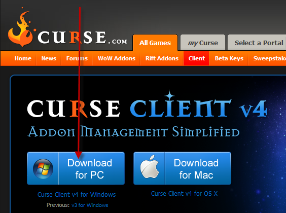Curse Client for Dummies Downloadpage