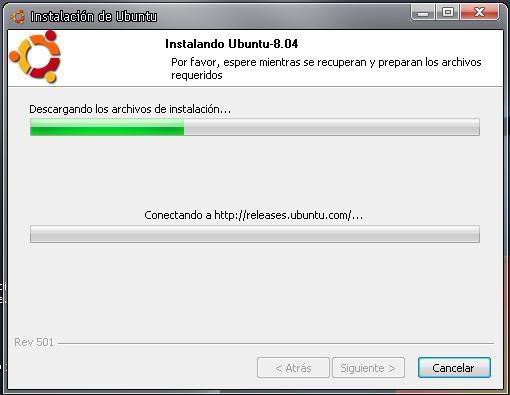 wubi Instala el S.O. ubuntu desde windOws ( como si fuera un programa ) Ubunto_instalando