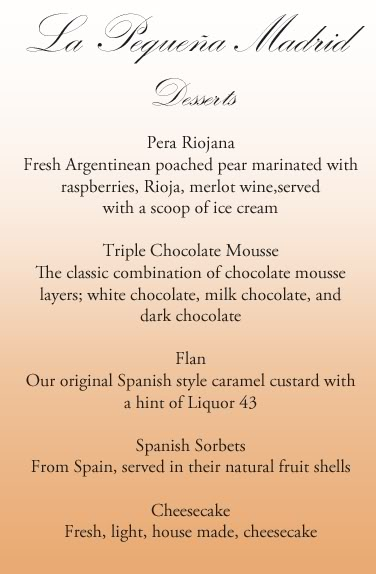El Menu (The Menu) Desserts