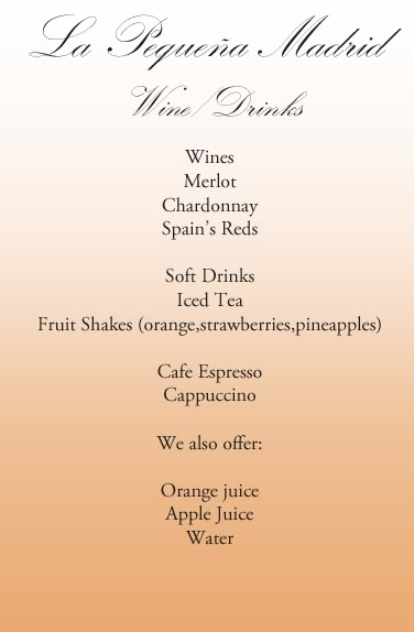 El Menu (The Menu) Drinks