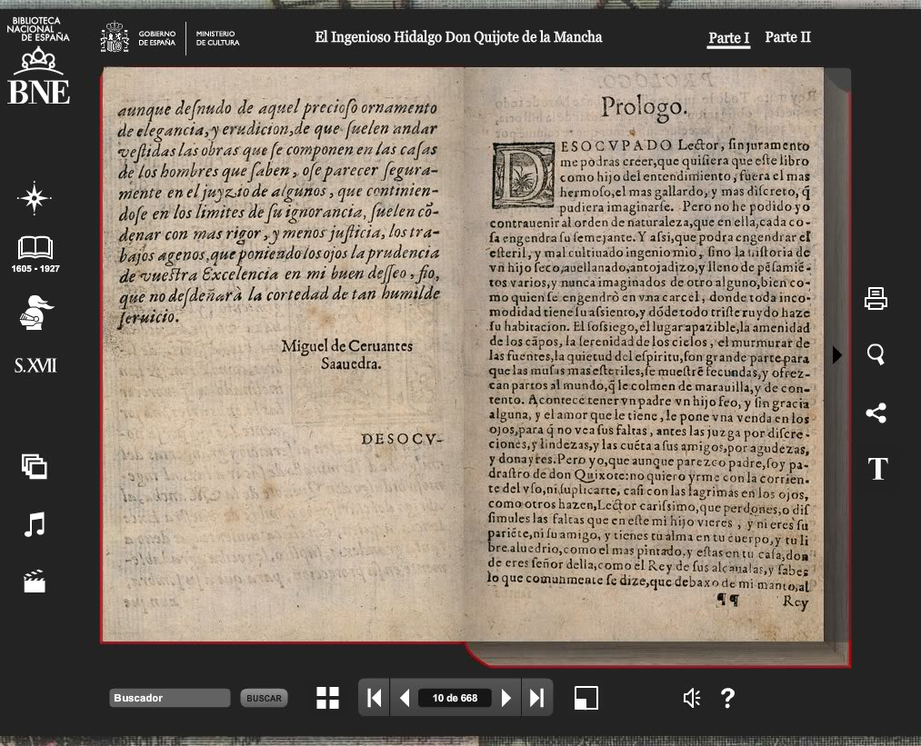 Miguel de Cervantes · El Quijote · Enlace a versión facsimil Quijote