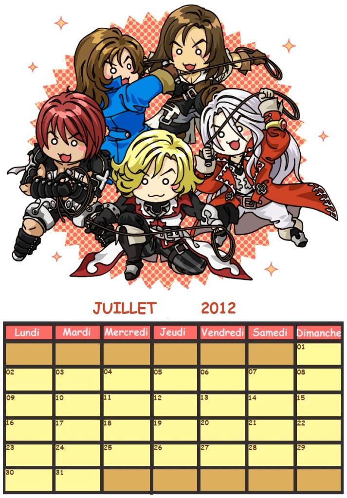 Mon calendrier Juillet