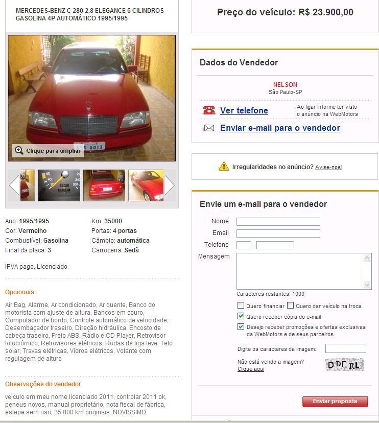 W202 C280 1995, 38mil km, R$ 30.000,00 C280red