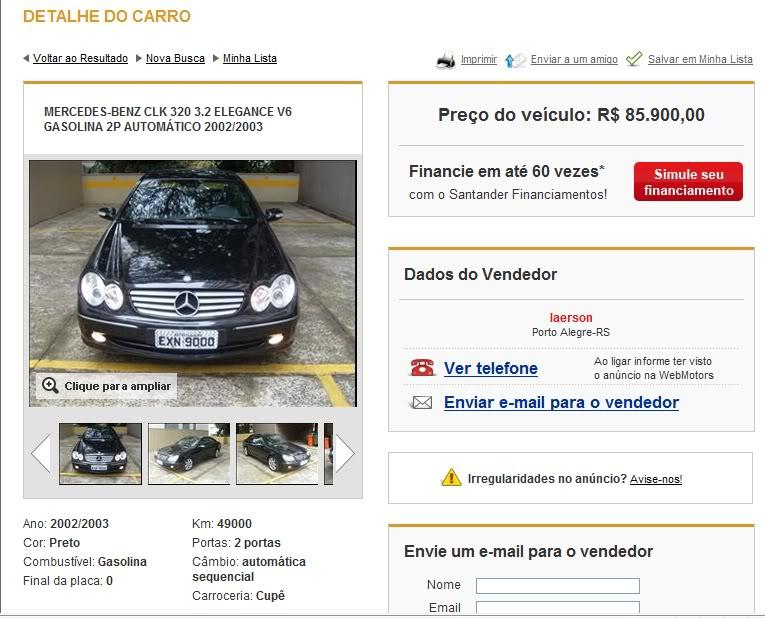 CLK 320 (C209) 2003 - R$ 68.000,00 CLK320