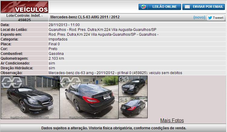 C218 CLS63AMG 2011/2012 - R$ 325.500,00 (lance inicial) - Leilão Sodré Santoro CLSleilao_zps8ea4127b