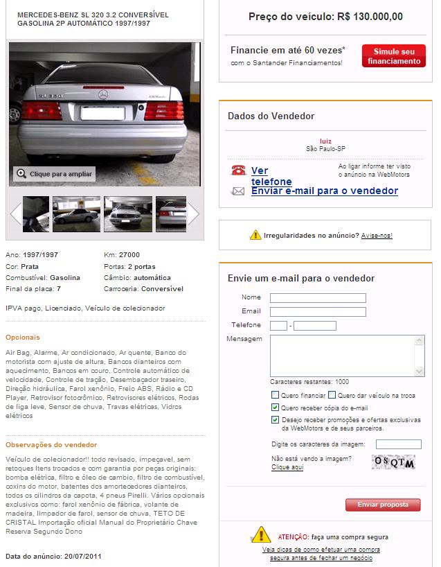 SL320 R129 1997 - 115.000 reais SL320WB