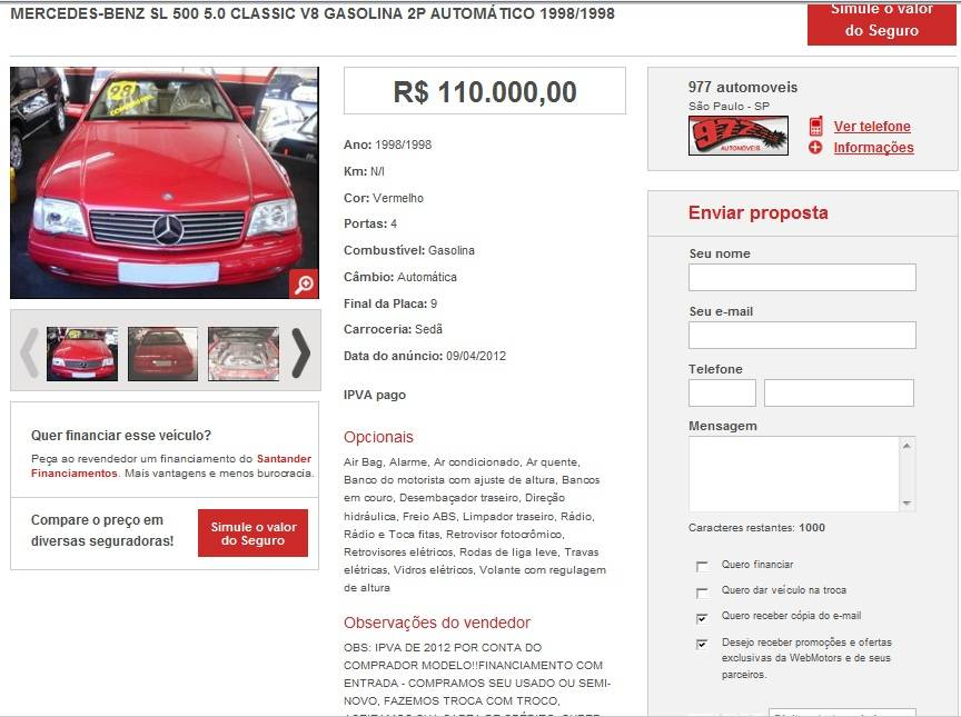 (VENDIDO) R129 SL500 1998 - R$ 110.000,00 SL500-1