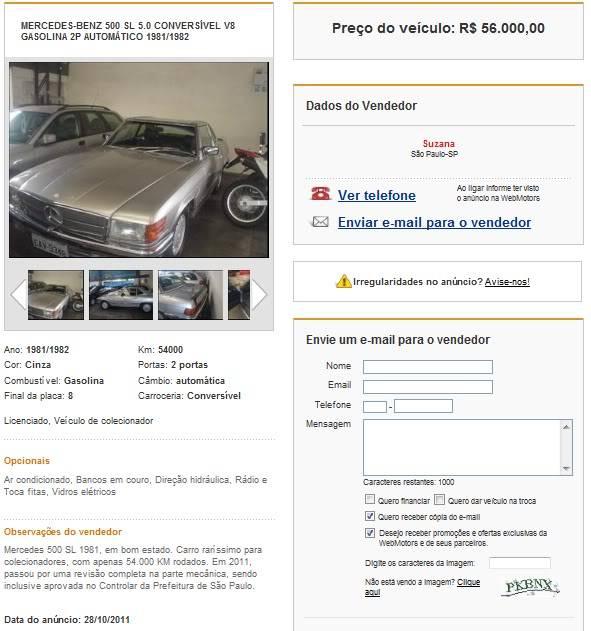 500SL - 1981 - R$ 56.000 SL81