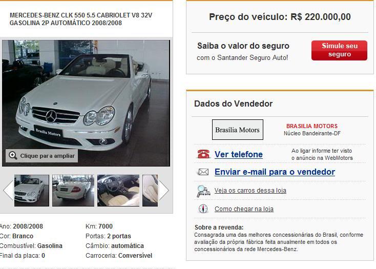 A209 CLK550 Cabriolet 2008/2008 - R$ 220.000,00 (VENDIDO) Clk550