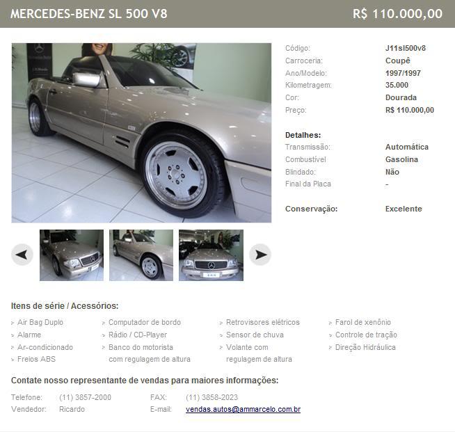 SL500 R129 1997 - R$ 110.000  G90
