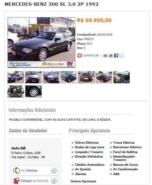 300SL  R129 1992 - 69.900 reais Sl3200