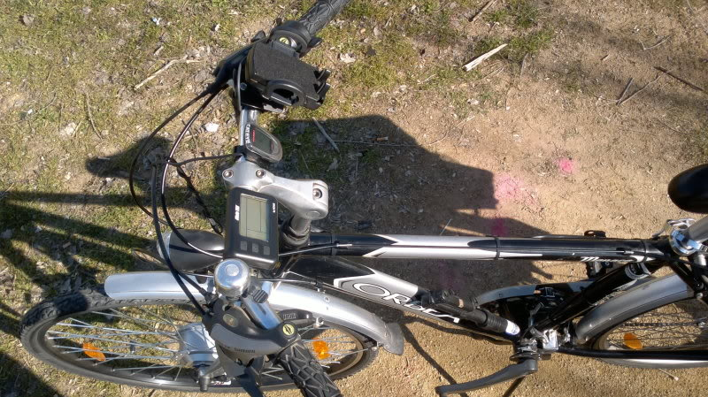 Convertidor DC-->DC de 36v a 5v (Cargando el teléfono móvil en la bici) VistaManillar