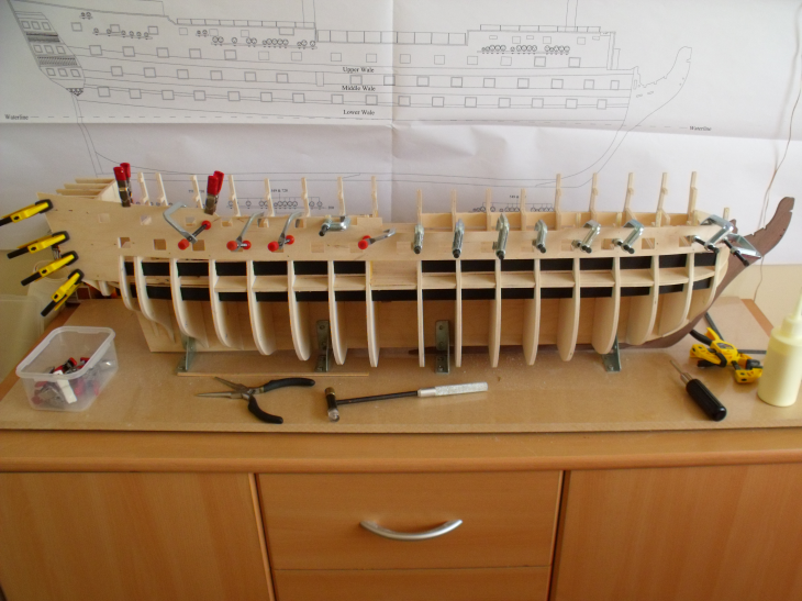 Caldercraft's 1:72 Scale HMS Victory Clampingthefirsttemplate