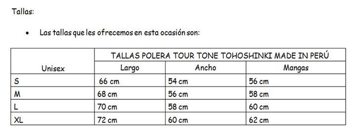 [PRE-ORDEN] POLERA TOUR TONE TOHOSHINKI MADE IN PERÚ 532676_3251602011814_1319920767_32629625_1723785315_n