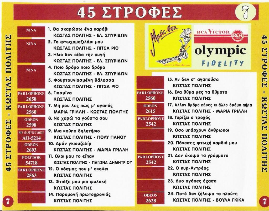 ΠΑΛΙΑ ΛΑΙΚΑ CD 7  45 ΣΤΡΟΦΕΣ BACK07-1