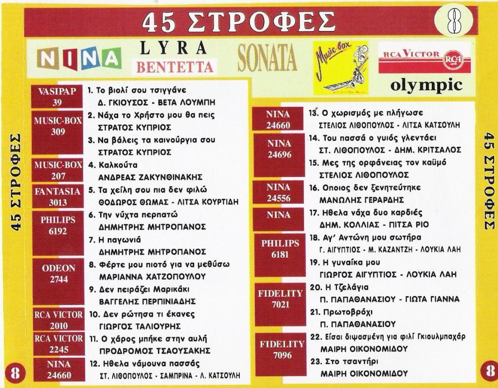 ΠΑΛΙΑ ΛΑΙΚΑ CD 8  45 ΣΤΡΟΦΕΣ BACK08-1