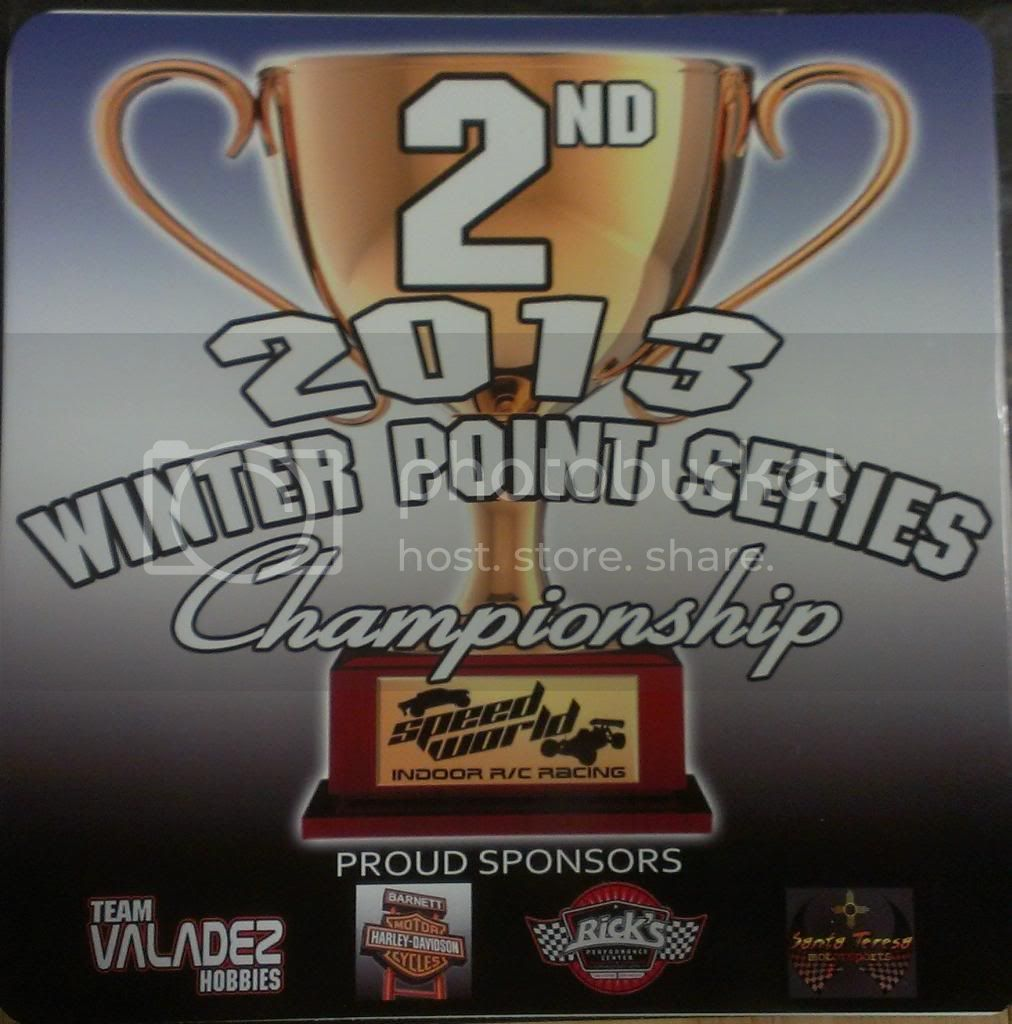 Speed World R/C Raceway WEEK 6 and FINAL 2013 WINTER POINTS SERIES RESULTS 2NDPLACEPLAQUE