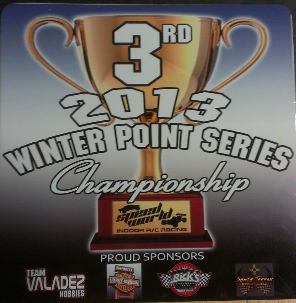 Speed World R/C Raceway WEEK 6 and FINAL 2013 WINTER POINTS SERIES RESULTS 3RDPLACEPLAQUE