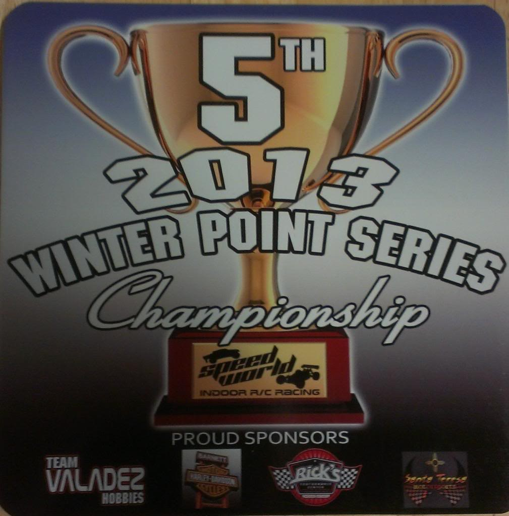 Speed World R/C Raceway WEEK 6 and FINAL 2013 WINTER POINTS SERIES RESULTS 5THPLACEPLAQUE