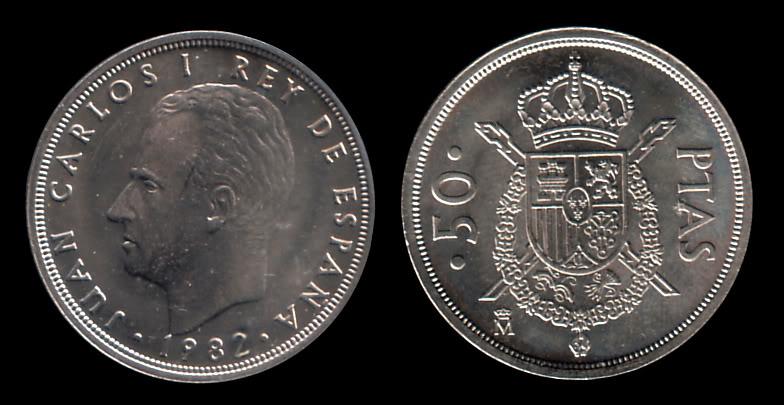 Moneda representativa de Juan Carlos I JunCarlosI50Ptas.1982