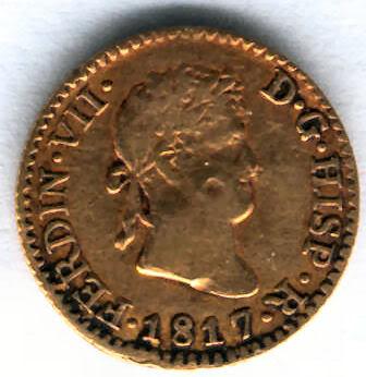 Medio Escudo de Fernando VII (1808-1833), ceca Madrid, año 1817 Z1817